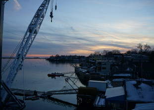 View from burke+ studio at the boat yard