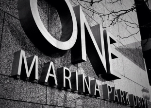ONE Marina Park, street level identity, Seaport, Boston