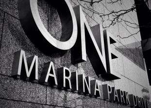 ONE Marina Park, street level identity, Seaport, Boston
