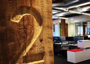 LogMeIn, hand carved floor id, blending history + making history, boston